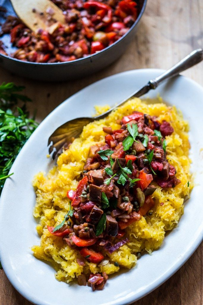 Roasted Spaghetti Squash With Eggplant Puttanesca