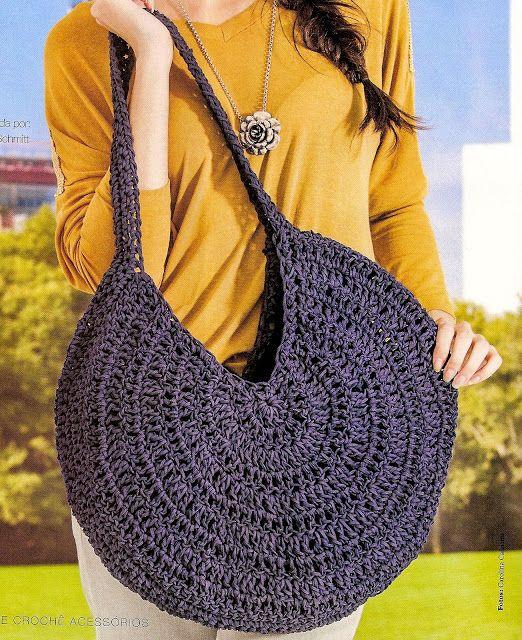 92ede65f7d8 CROCHE COM RECEITA: Bolsas em croche redondas | Crochet | Bolsas de ...