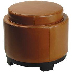 Safavieh Round Casual Saddle Faux Leather Round Storage Ottoman