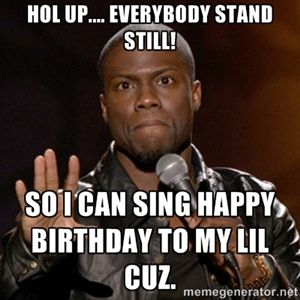 Hol Up Everybody Stand Still So I Can Sing Happy Birthday To My Lil Cuz Kevin Hart Kevin Hart Funny Quotes Kevin Hart Meme