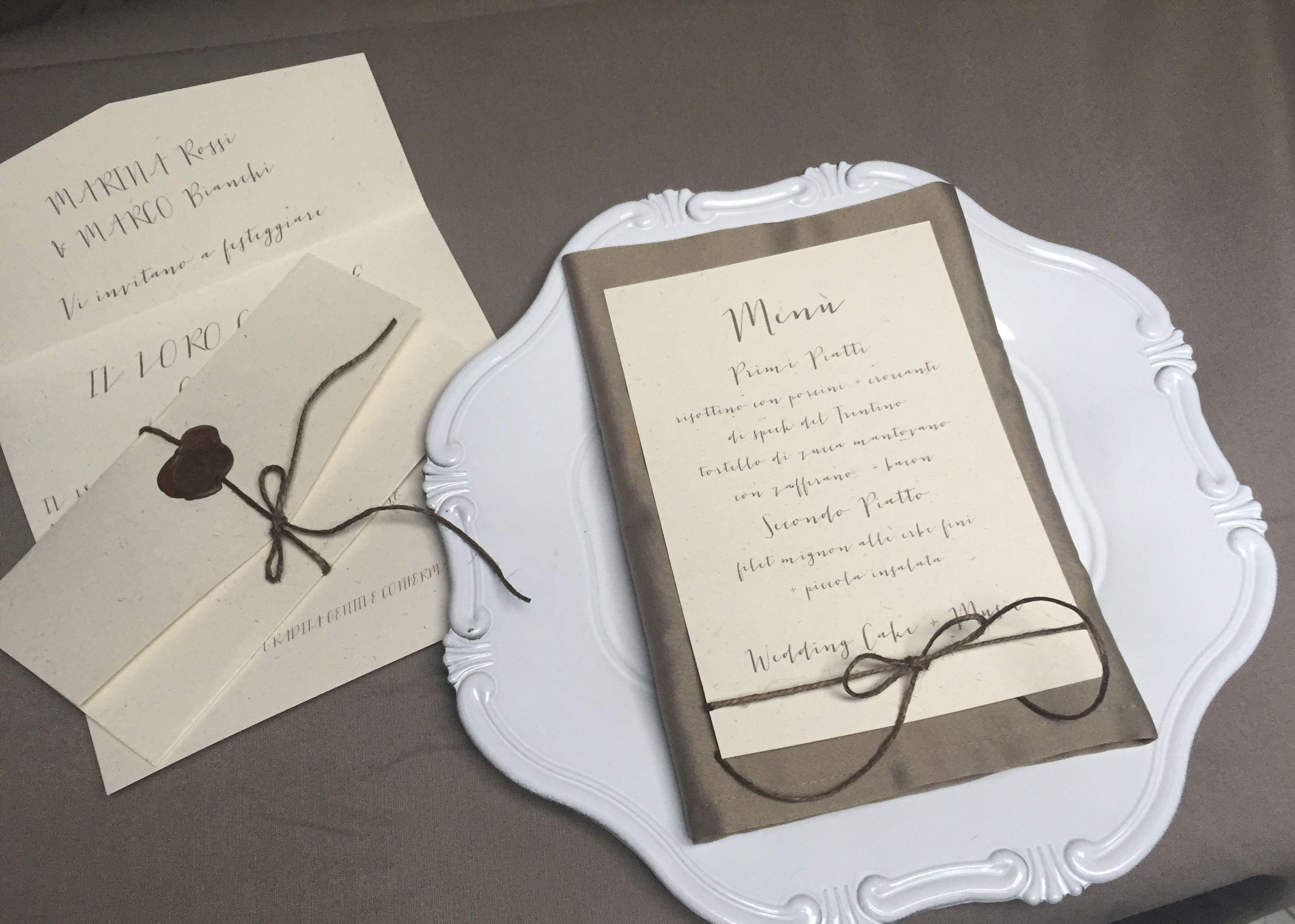Preferenza PARTECIPAZIONE E MENU' COUNTRY CHIC | Partecipazioni Matrimonio  KE58