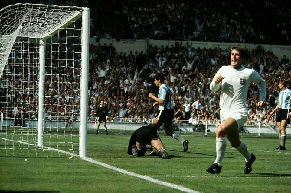 England 1 Argentina 0 in 1966 at Wembley. Geoff Hurst runs