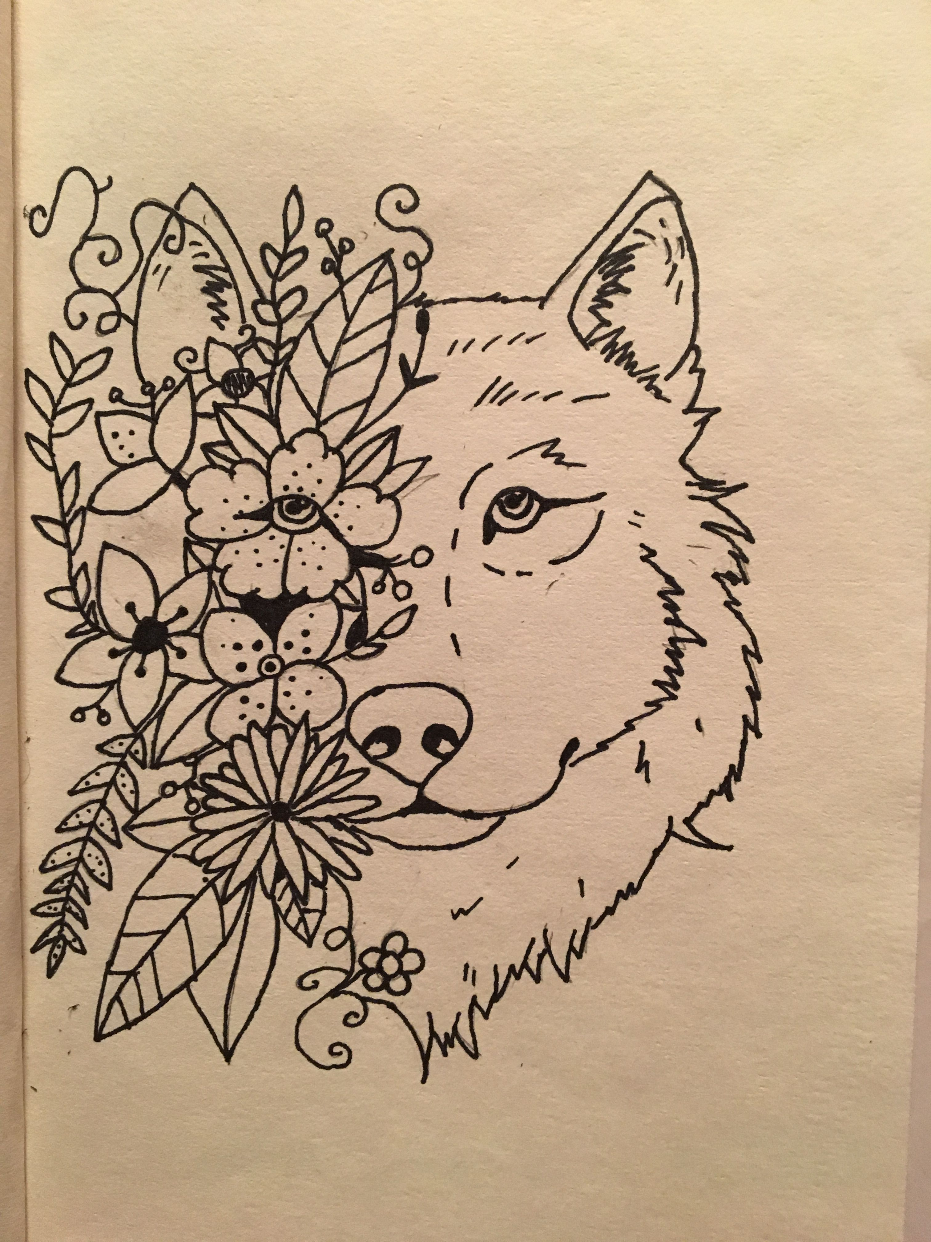 Sharpie drawing. Wolf head with flowers. Sharpie