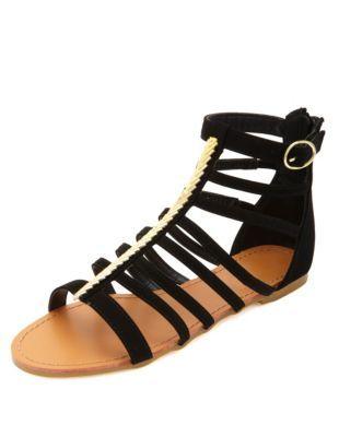chevron-plated t-strap gladiator sandals