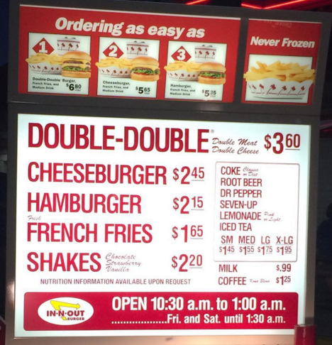 In N Out Menu >> In N Out Menu Prices Can Vary By Location But You Can Be