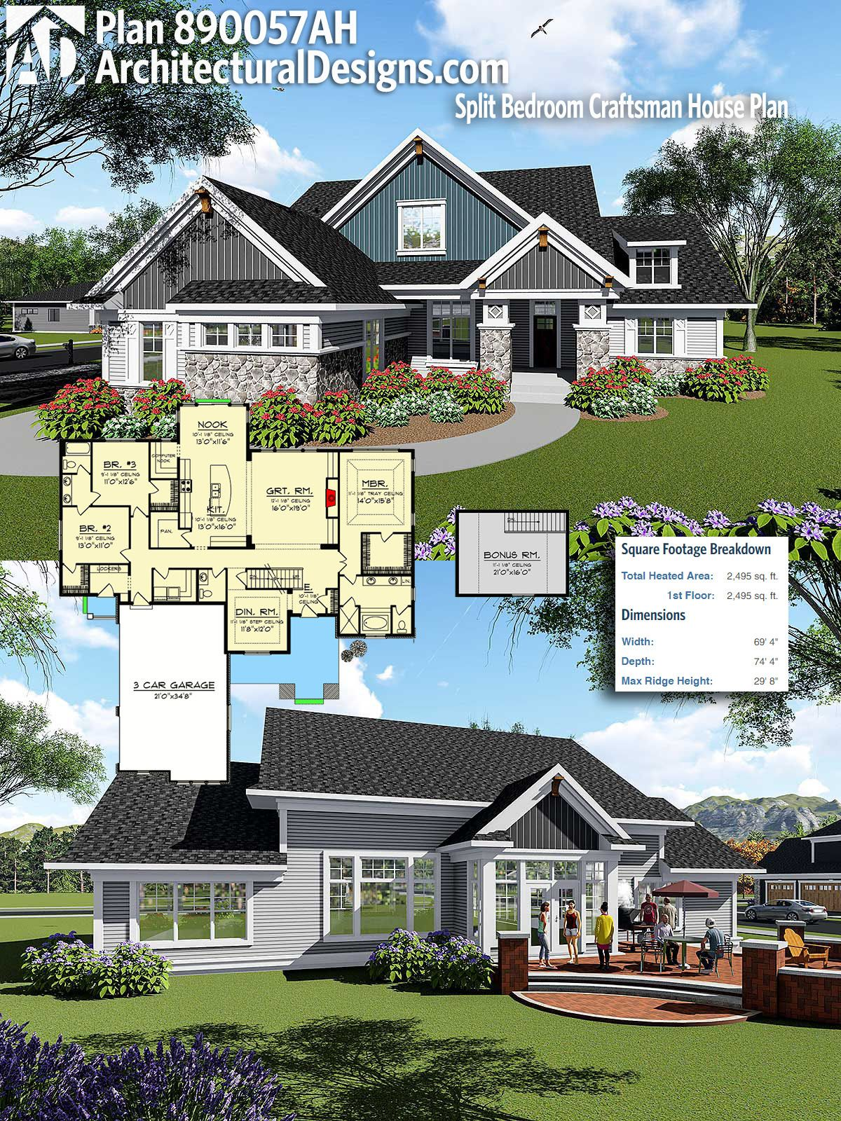 Architectural Designs Craftsman House Plan 890057AH gives