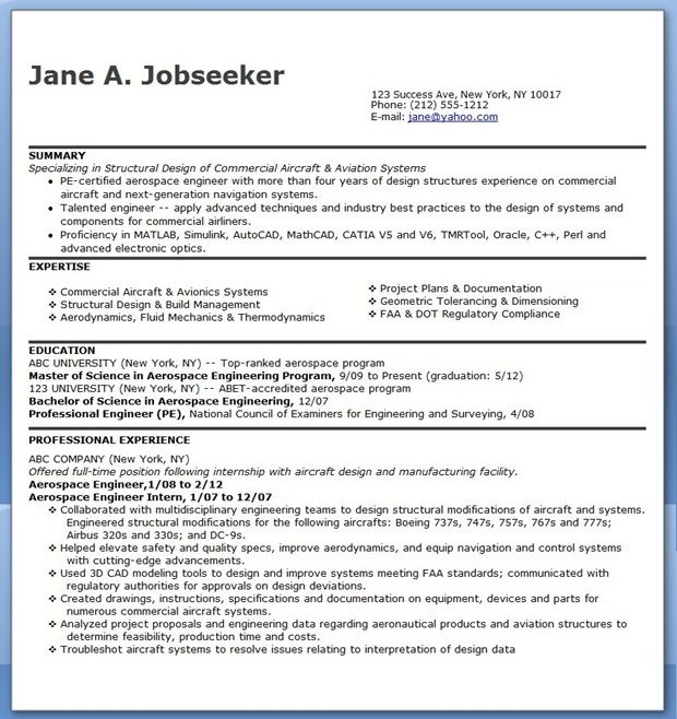 Aerospace Engineer Resume Sample  Creative Resume Design