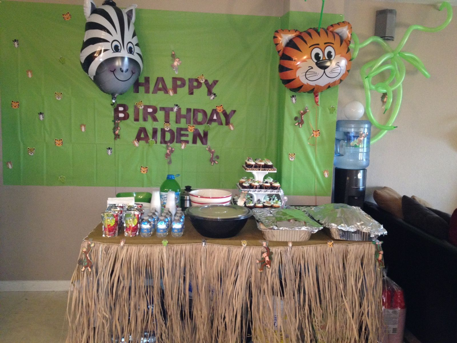 Aiden S 1st Birthday Party Jungle Theme Party On A Budget Jungle Theme Parties 1st Birthday 1st Birthday Parties