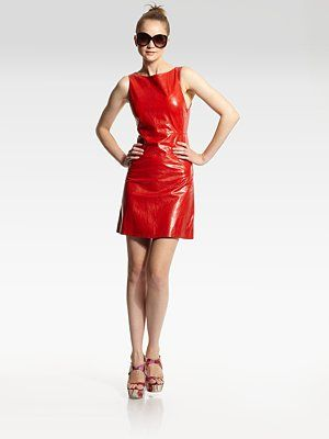 red leather shift dress