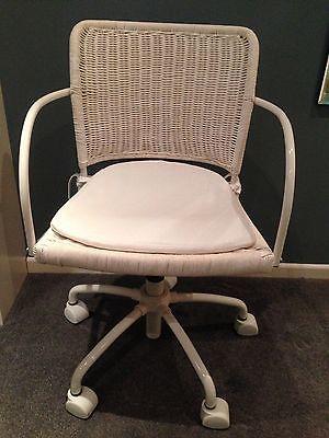 White Ikea Wicker Swivel Desk Chair