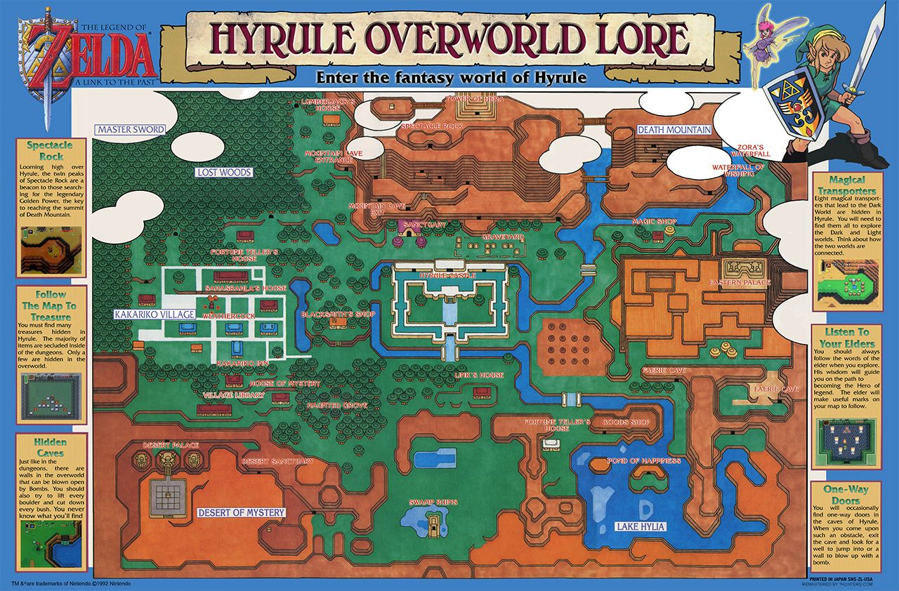 Poster Available On Ebay See Link Hyrule Overworld Map For Legend Of Zelda Link To The Past Completely Remastered Http W Legend Of Zelda Zelda Old Video Ideas for zelda link to past map