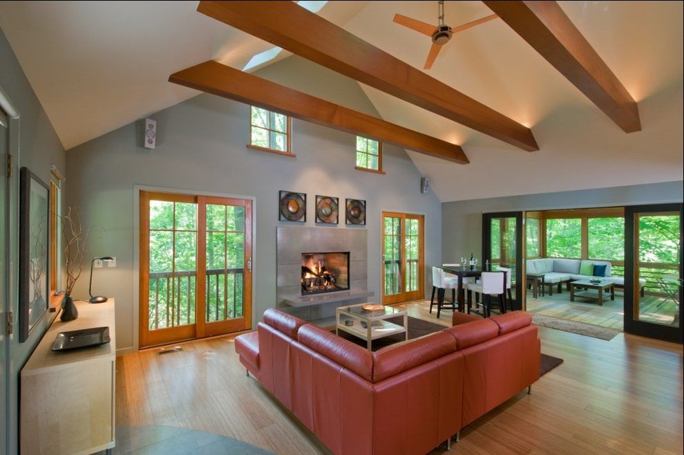 Exposed Beam Ceiling Lighting Living Room Contemporary With Wood Flooring  Sloped Ceiling Wall Art