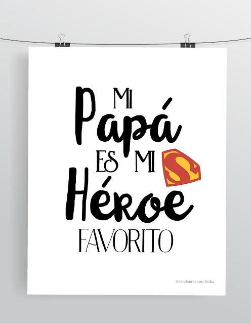 Tarjeta y lamina del Día del Padre – Eres mi héroe favorito
