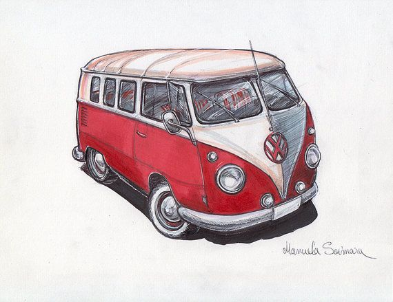 volkswagen bus art print old vw camper van drawing poster. Black Bedroom Furniture Sets. Home Design Ideas