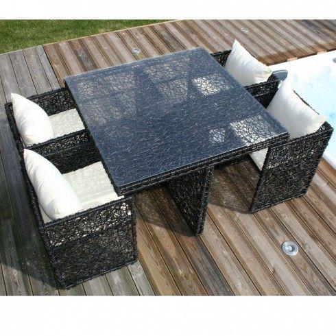 Salon de jardin Table résine filaire avec 4 fauteuils encastrables ...