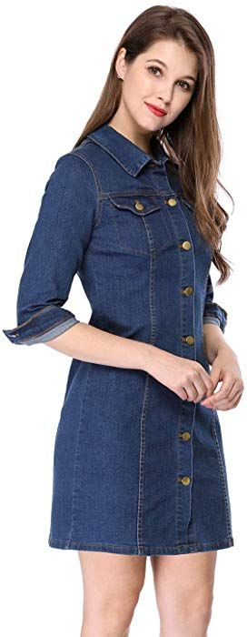 578101af6c5 Allegra K Women s 3 4 Sleeve Above Knee Button Down Denim Dress S Blue at