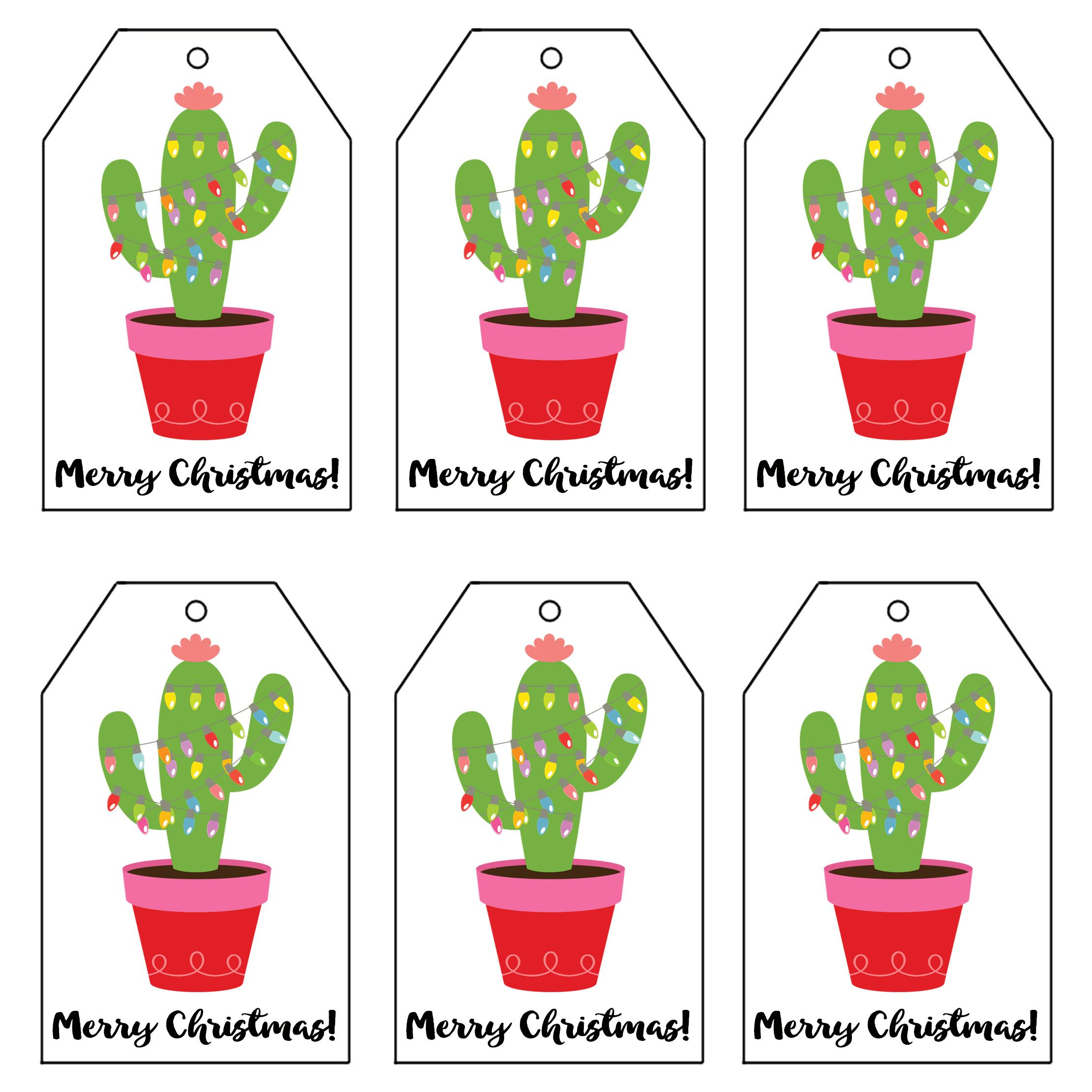 Christmas Light Cactus T Tags 2