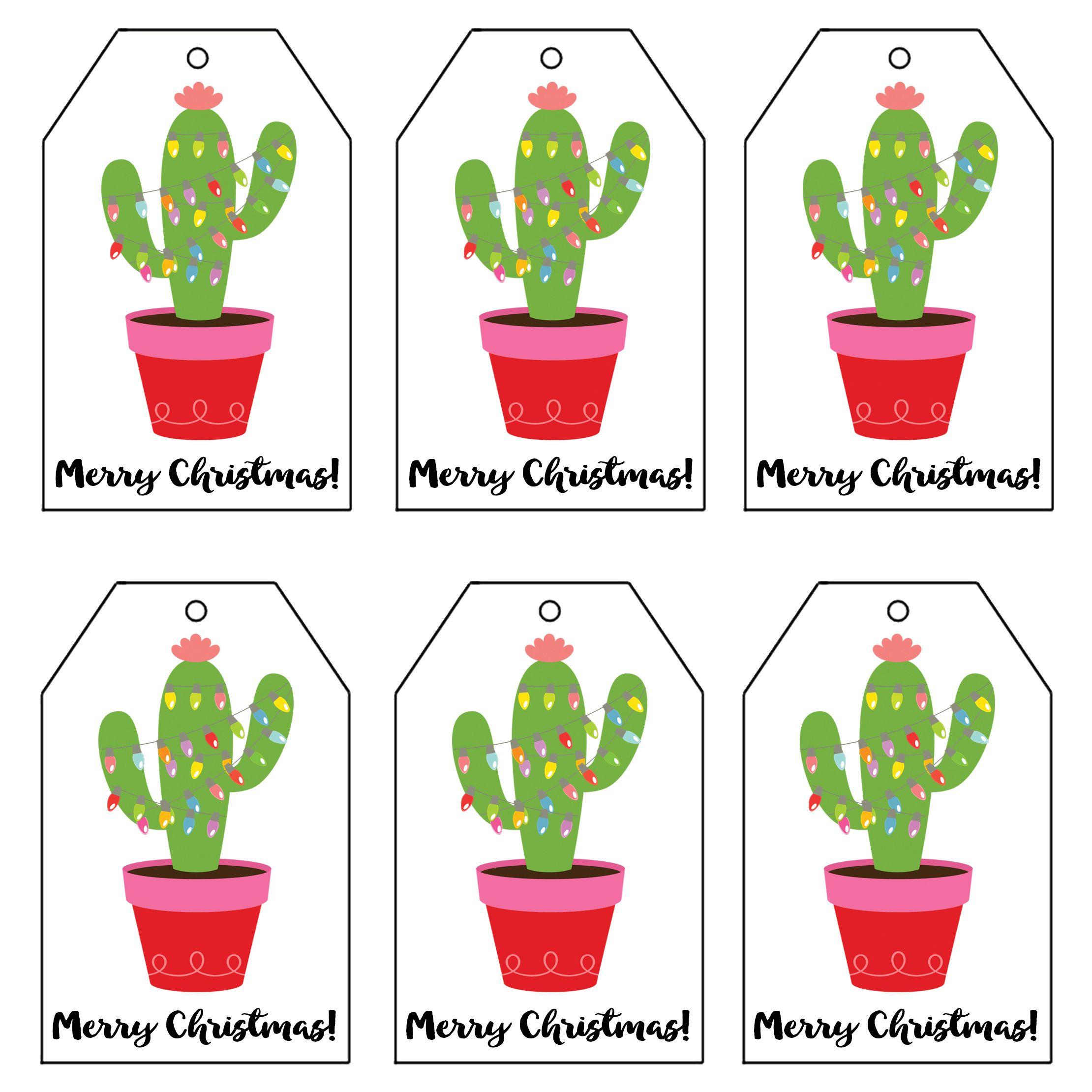 Christmas Light Cactus T Tags 2