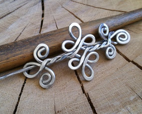 Celtic Knot Double Swirls and Curls Aluminum Shawl Pin, Hair Pin ...