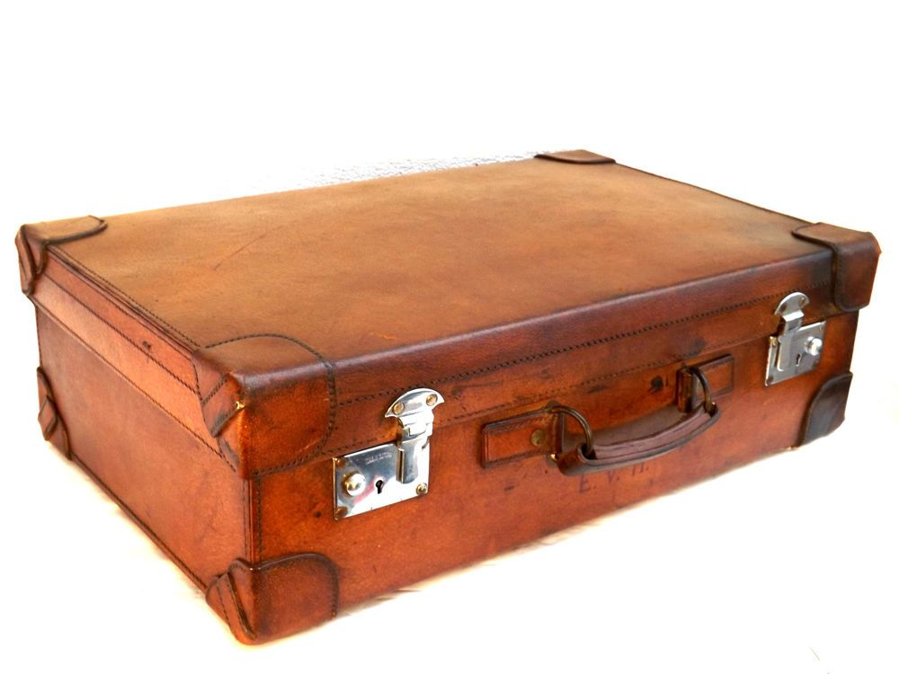 Edwardian c 1901-1910 Monogrammed Leather Suitcase - Made In England ... b4df9dd48a2d4