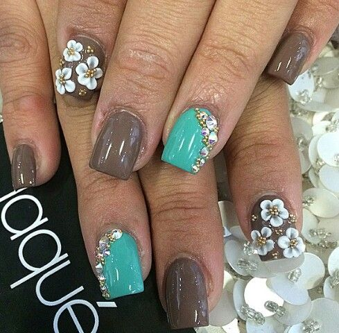 teal and brown nails short square pretty white flowers
