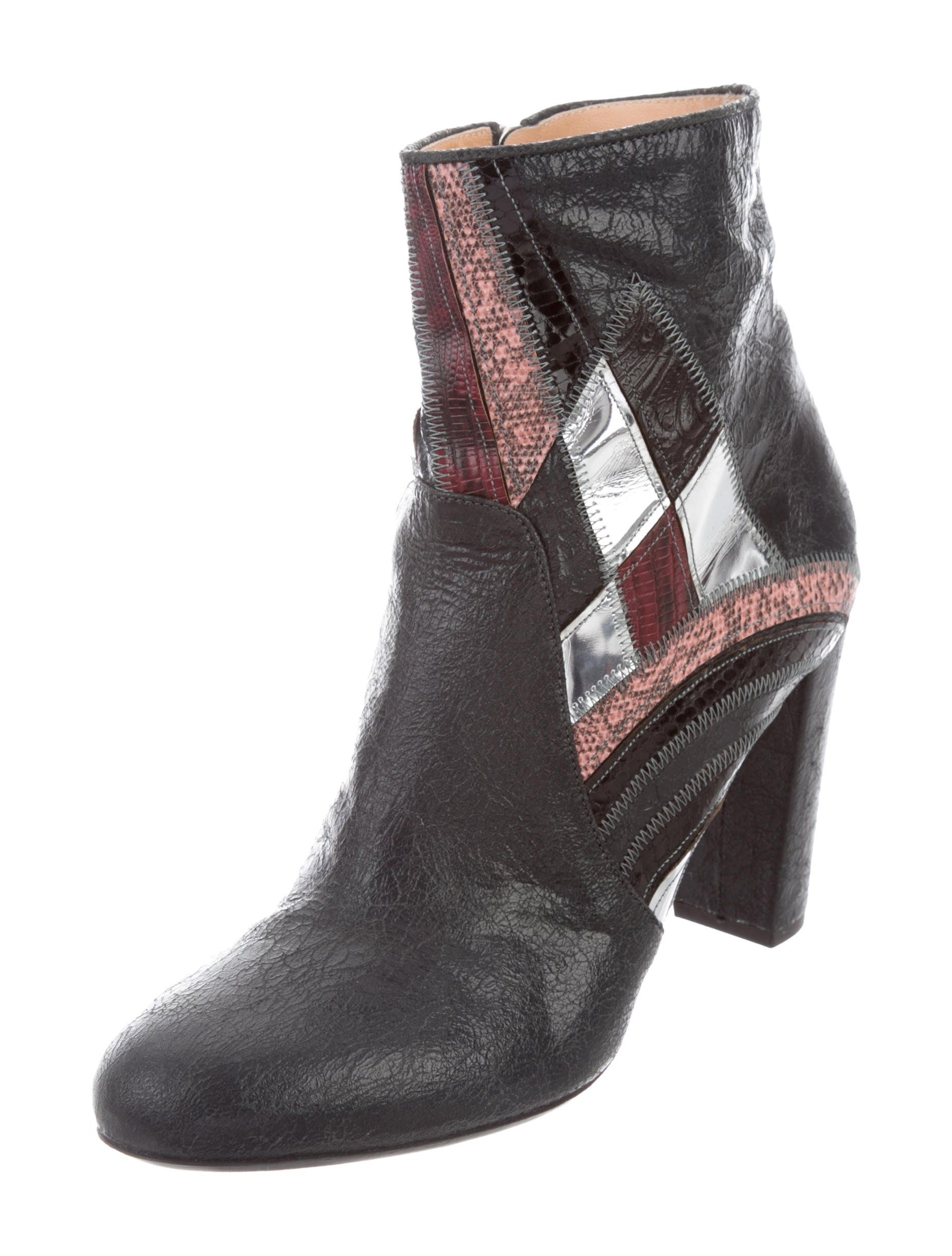 cb73522301 Blue crinkle leather and multicolor embossed leather Dries Van Noten ankle  boots with round toes