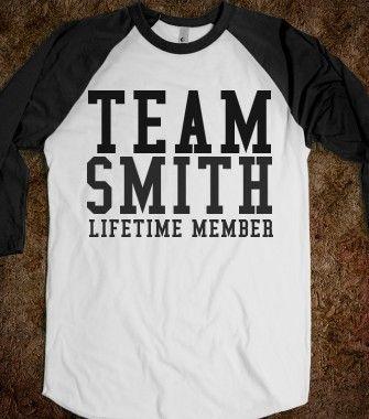 Team smith lifetime member 3 4 sleeve raglan shirt for Team t shirt ideas
