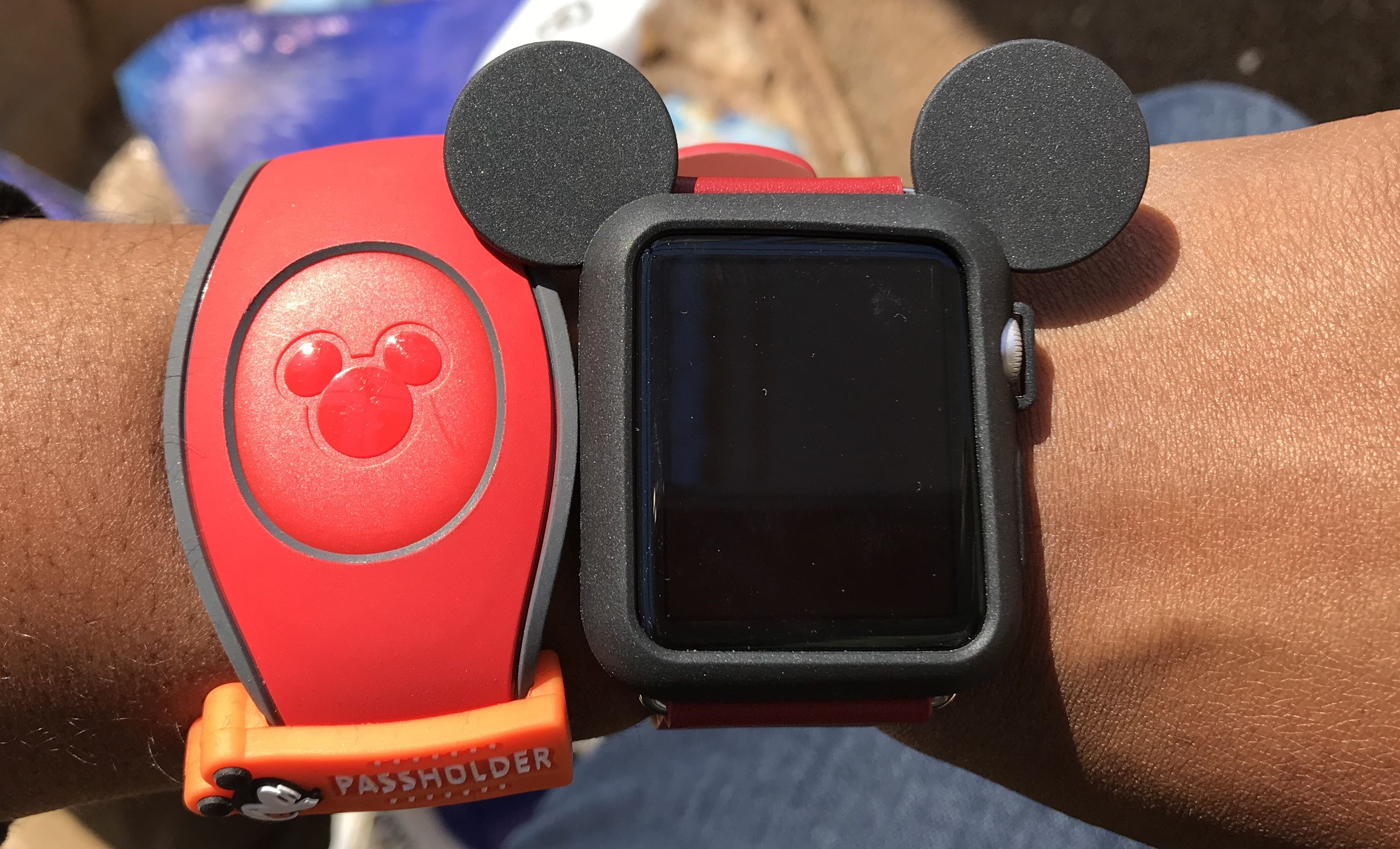 Disney magic band with mickey face cover apple watch