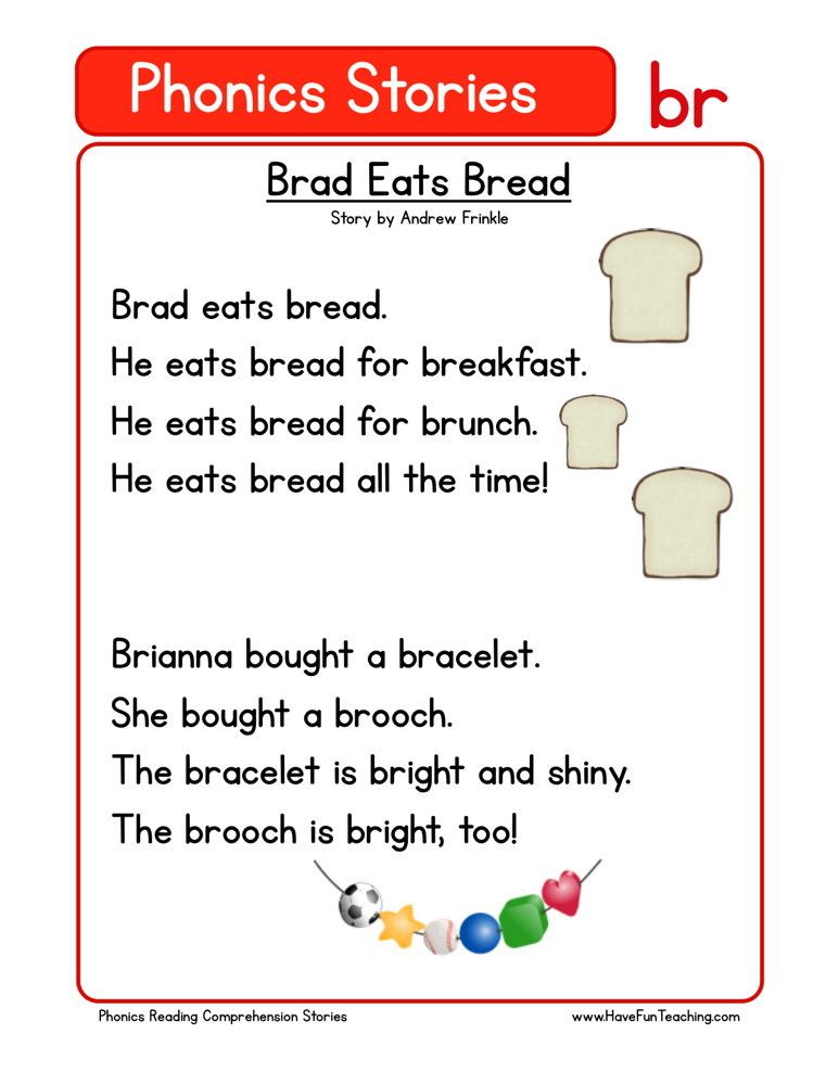 Reading Prehension Worksheet Brad Eats Bread
