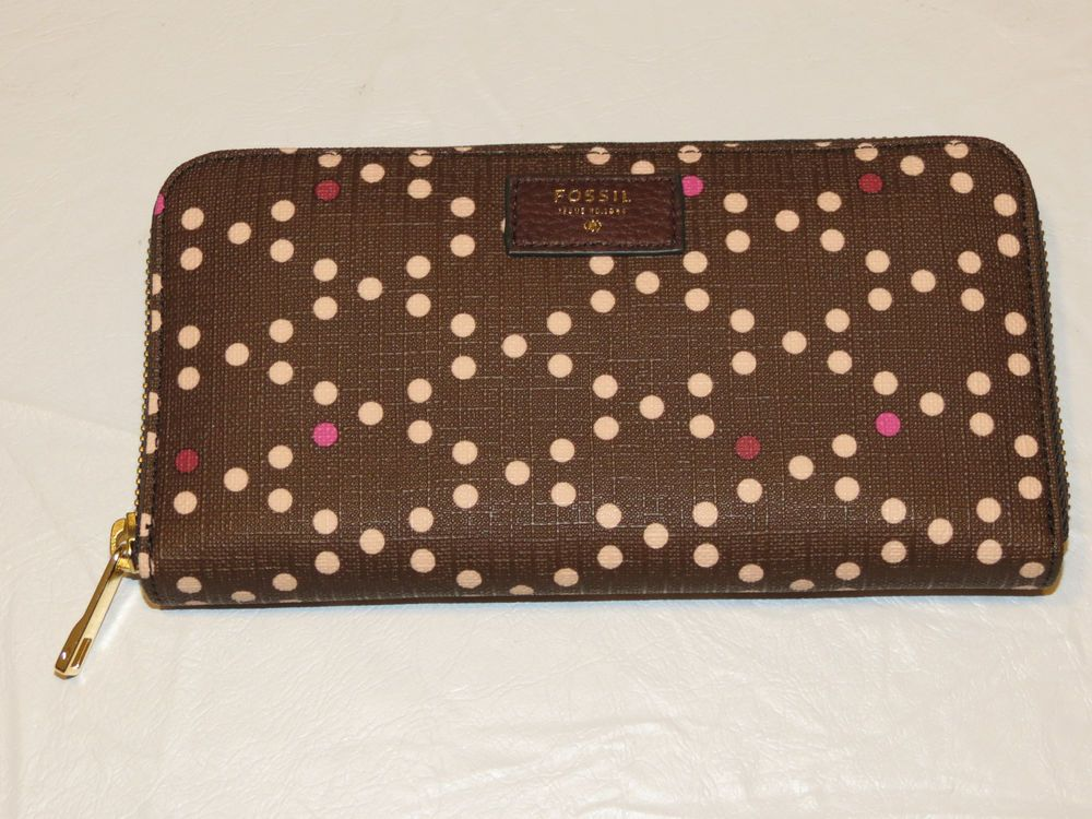 Womens RFID Blocking Small Faux Leather Polka Dot Purse Zipped Coin Section