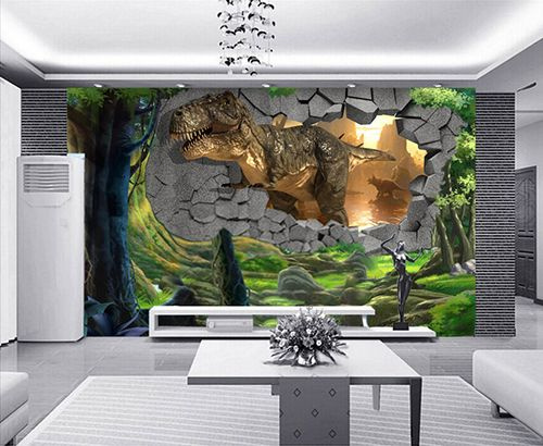 Décoration murale papier peint 3d personnalisé tapisserie numérique sur mesure dinosaure