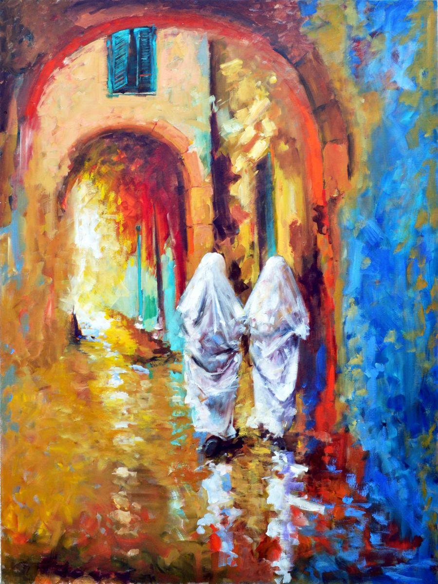 Les Belles De La Medina Peinture C 2017 Par Nejib Zneidi