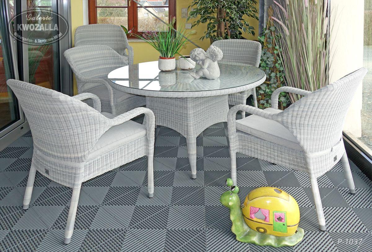 Gartenmöbelset   Stapelsessel/Stühle + Runder Tisch Aus Polyrattan  Hellgrau, Geeignet Für Draußen,