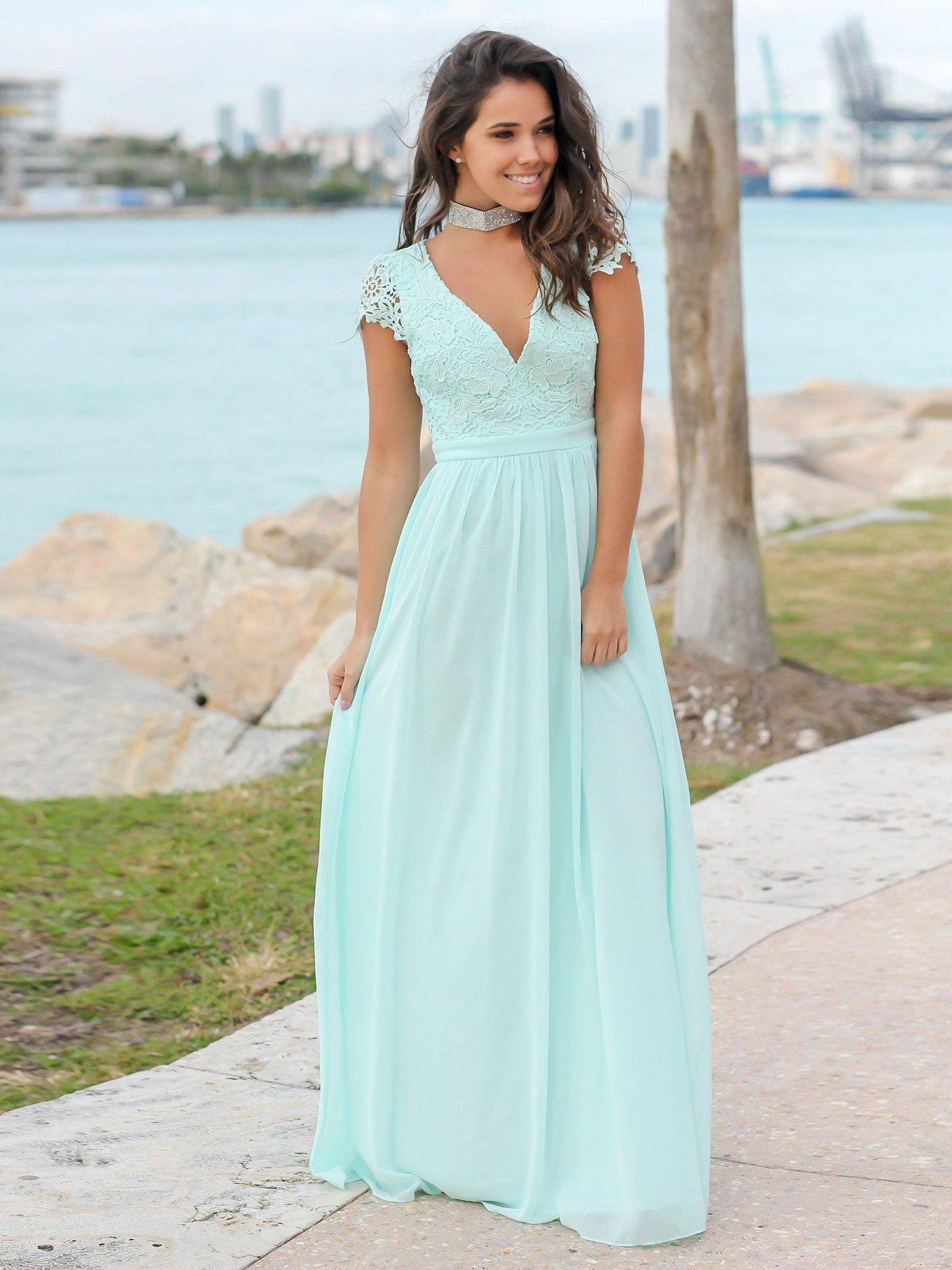 Light blue summer formal evening dresses v neck simple lace wedding