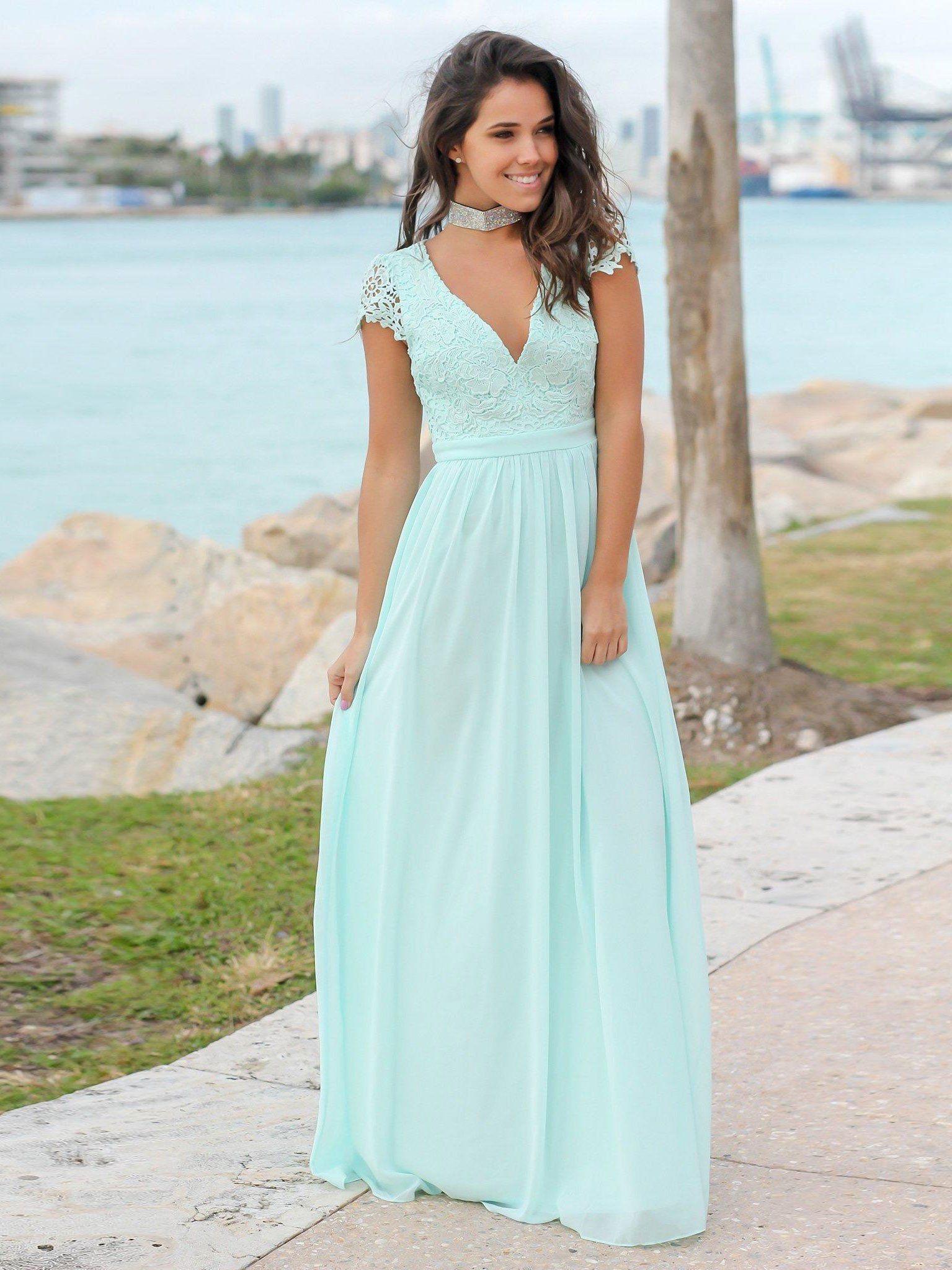 Evening wedding guest dresses  Light Blue Summer Formal Evening Dresses V Neck Simple Lace Wedding