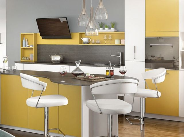 Cuisine color e jaune mobalpa cuisine kitchen for Deco cuisine coloree