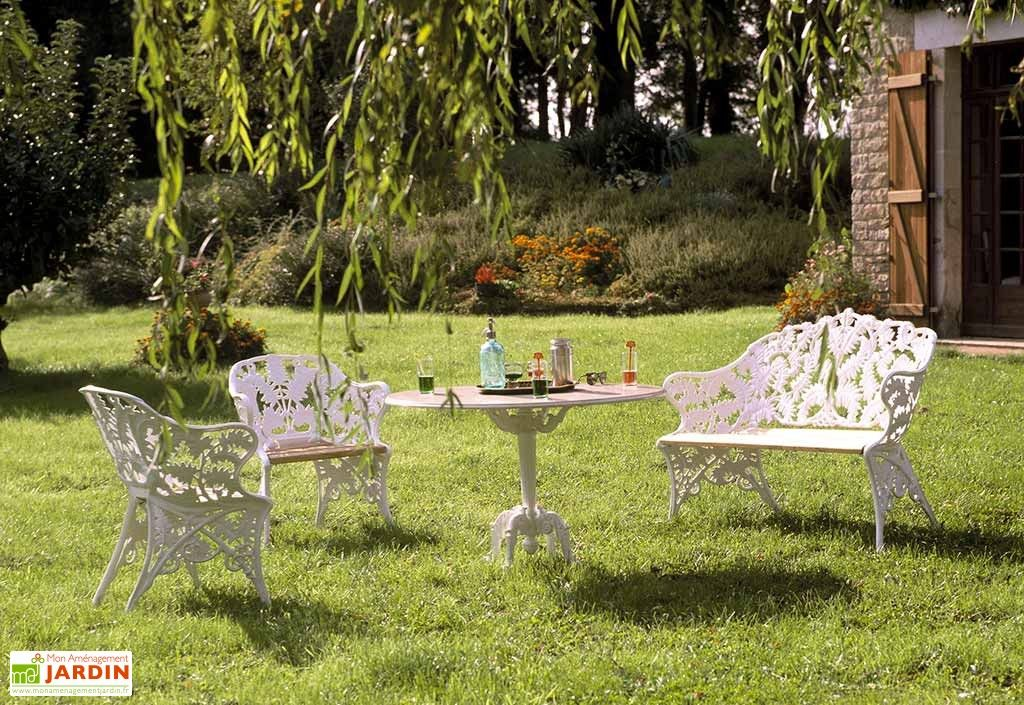 Salon de Jardin Fonte d\'Aluminium et Bois Fougère | MOBILIER de ...