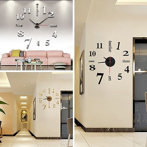 Details About Diy Analog 3d Mirror Surface Large Number Wall
