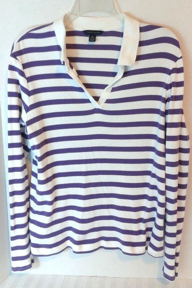 ab6ad74a49a Tommy Hilfiger Women s Size 2XL Purple Striped Long Sleeved Polo Collar  Preppy  TommyHilfiger  PoloShirt  Casual