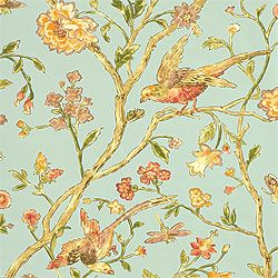 Thibaut Great Estates - Aviary - Wallpaper - Teal