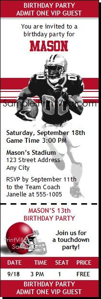 Alabama Crimson Tide Football Birthday Party Ticket Invitations - party ticket invitations