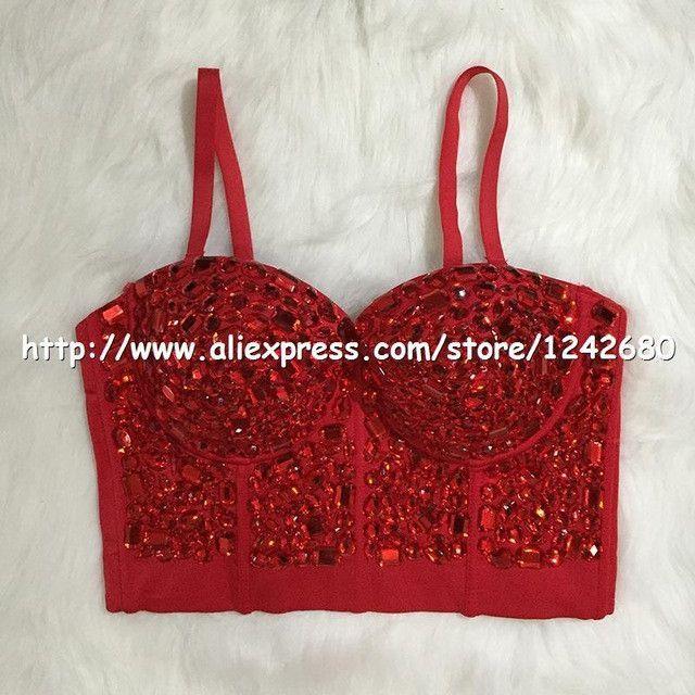 c3df46b4335 Original Hand-made Beaded Gaga Rhinestone Bustier Pearls Push Up Night Club  Bralette Women s Bra Cropped Top Vest Plus Size