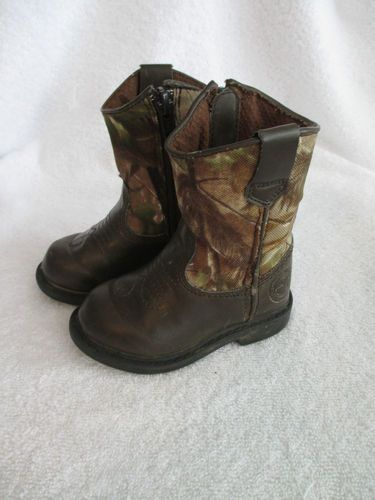 13d52a79aafc2 Duck Head Boots Size 5 Toddler Mossy Oak Camo & Brown Zip Up 5M Hunting  Cowboy