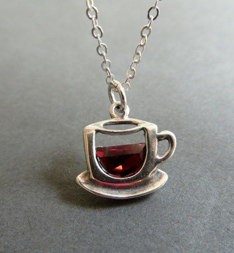 Photo of Coffee cup necklace. Cup of coffee or tea pendant. Sterling Silver Tea Cup…