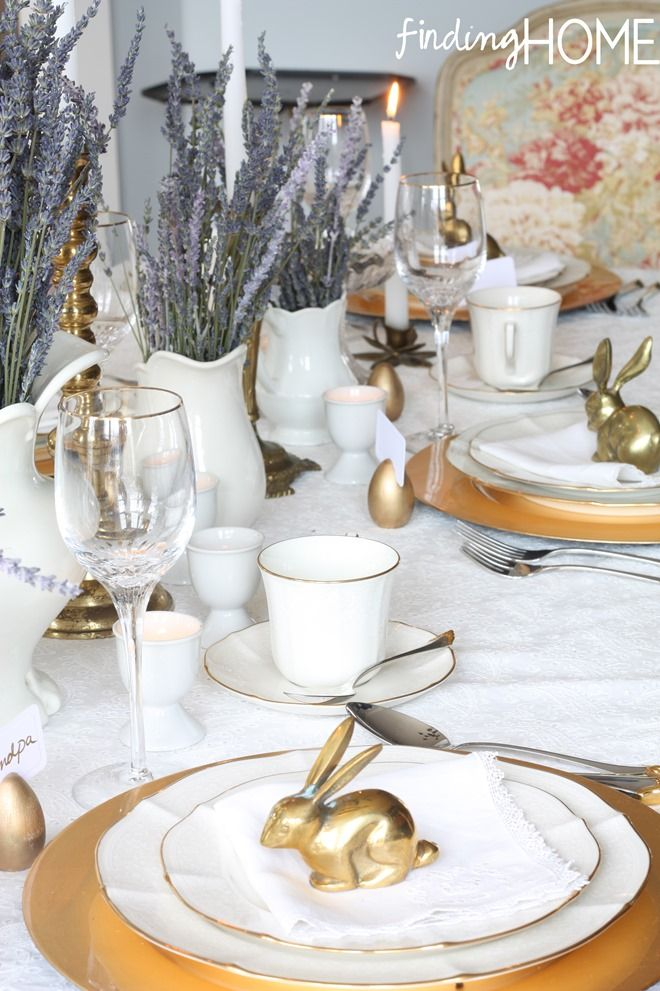 DIY Decor Ideas Table Setting Tips for Spring u0026 Easter. I love the lavender centerpieces a little gold bunnies in this one! #tablesetting #tablescape # ... & Decorating Ideas: Table Setting Tips | Pinterest | Lavender ...