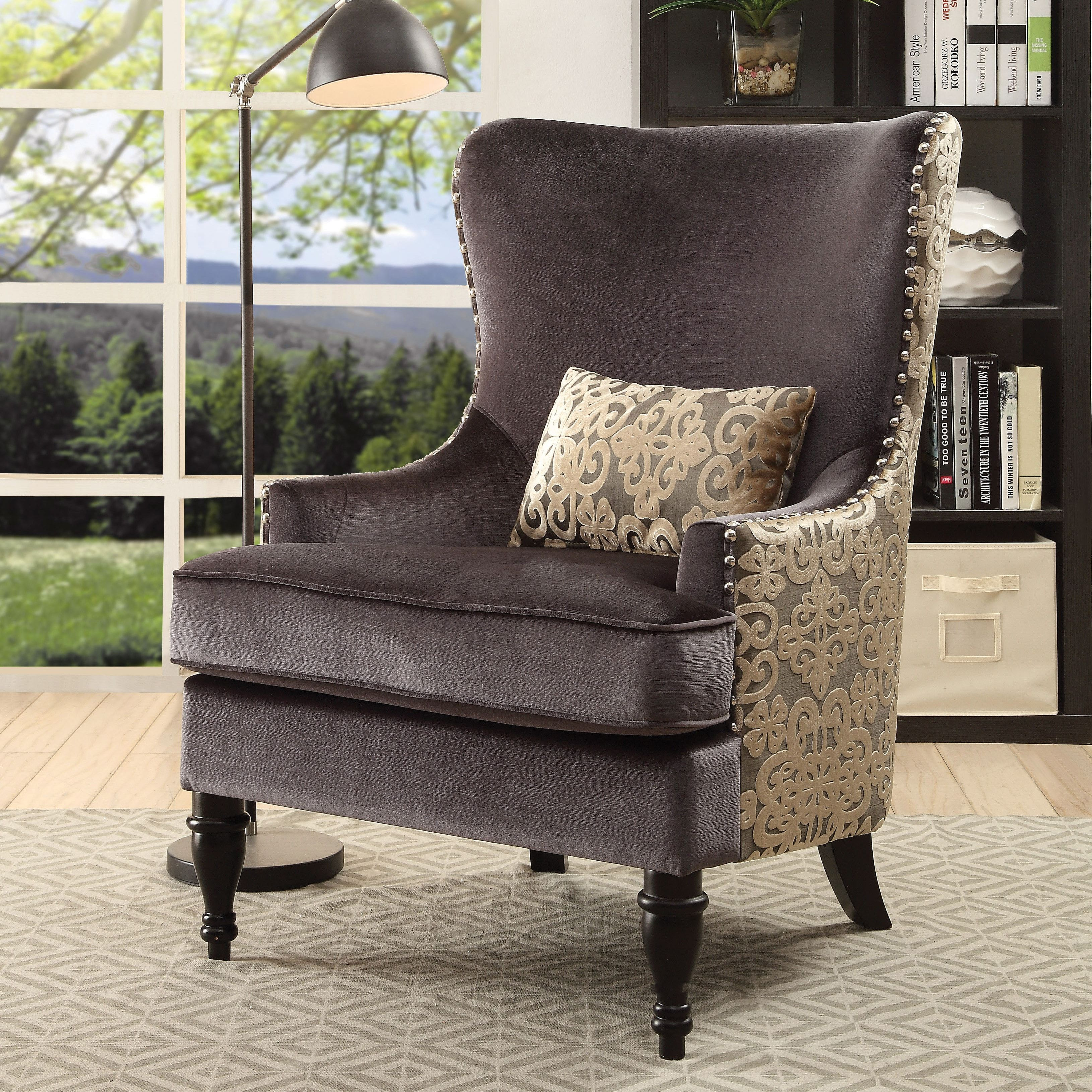 Terrific Floreda Traditional Dark Grey Wingback Accent Chair By Foa Bralicious Painted Fabric Chair Ideas Braliciousco
