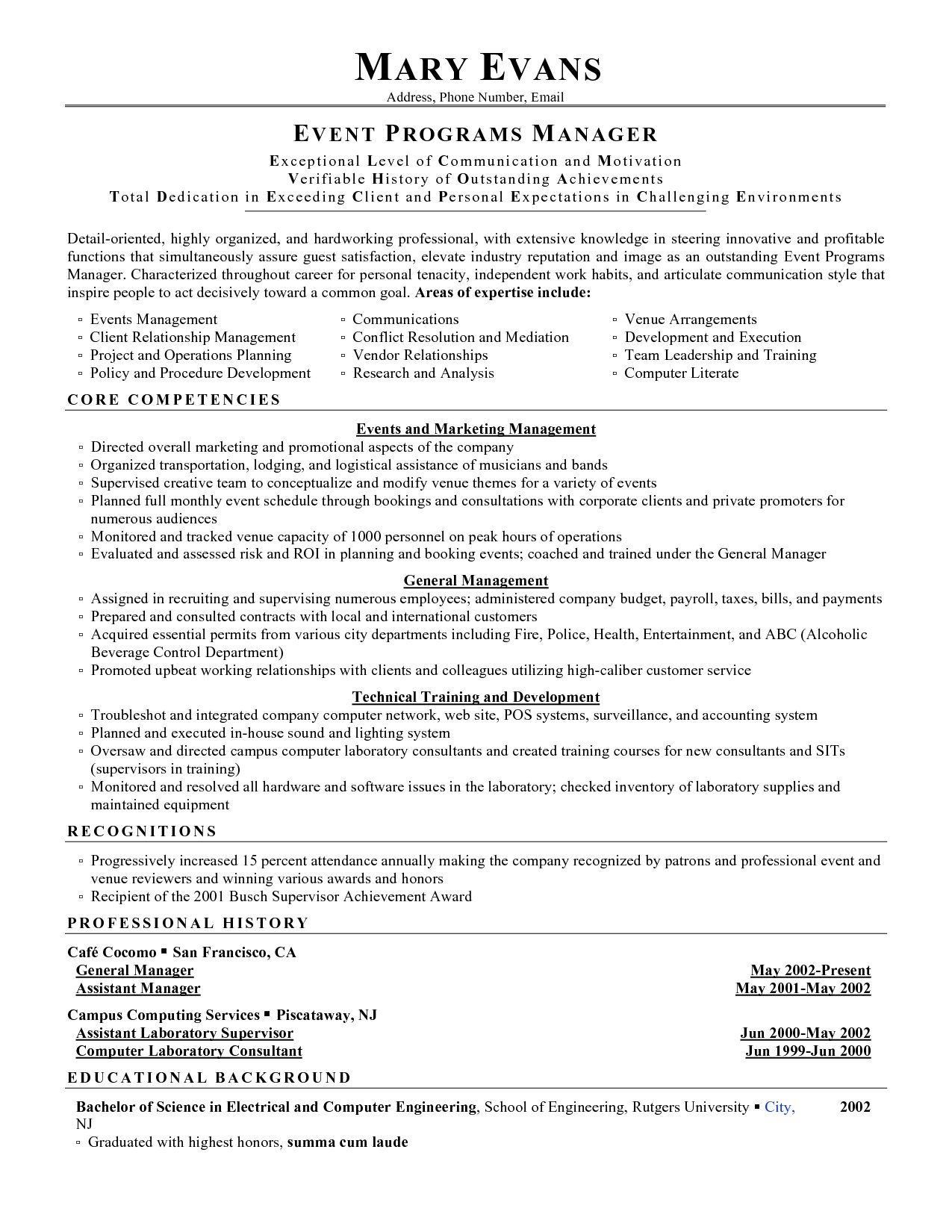 Event Manager Resume Bighitszone Com Within Examples