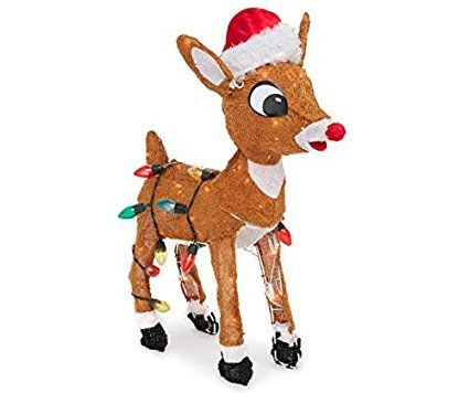 24 PreLit Soft Tinsel Rudolph the RedNosed Reindeer Christmas Yard Art Decoration  Clear Lights *** Visit the image link more details.