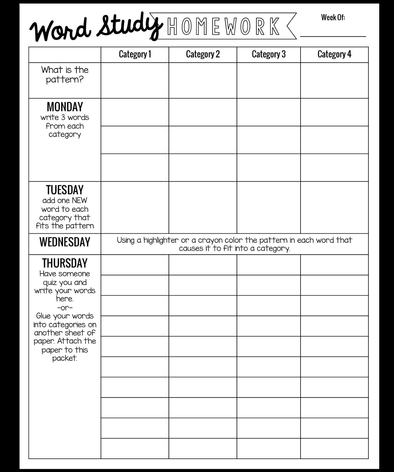 Simple Weekly Word Study Homework