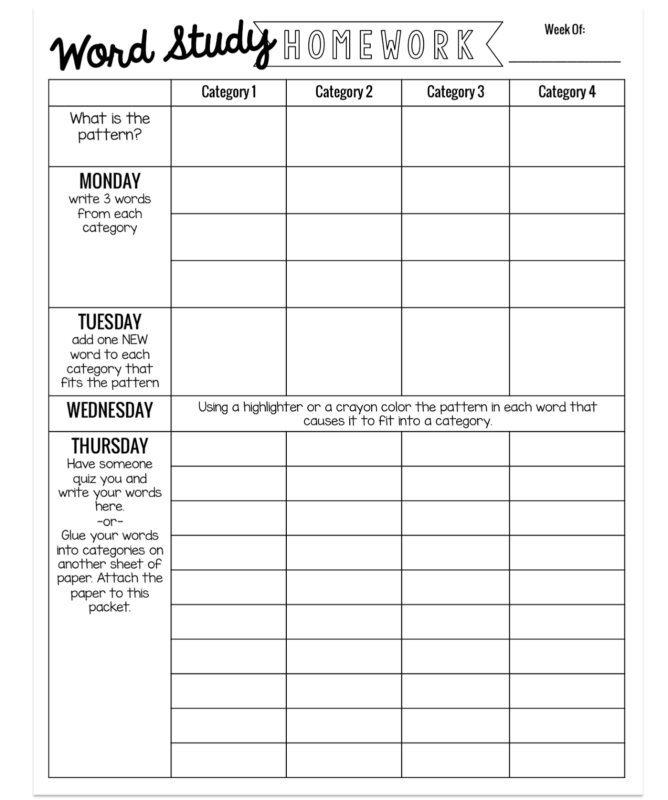 simple weekly word study homework secondgradesquad com pinterest